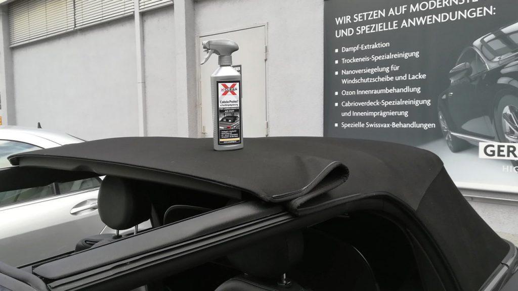 Imprägnierung für eine Cabrio Verdeck, die perfekte Autopflege