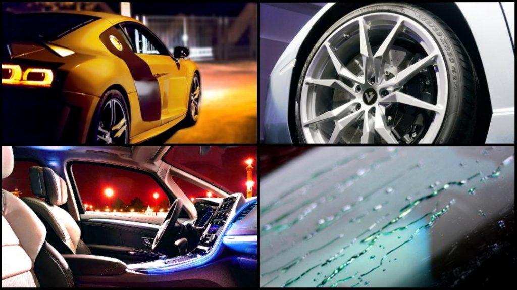 Anwendungsbereiche für BRILA Premium Glass Coating: Veredelung für Lack /auch Mattlacke und folierte Autos), Felgen, Scheiben und Innenraum.