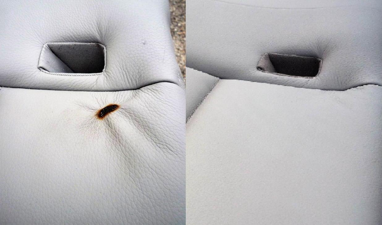 Selbst ein Brandloch in einem Leder Autositz kann mit Smart Repair behoben werden.